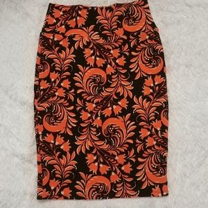 LULAROE Orange & Black Cassie Pencil Skirt 2-4 XS